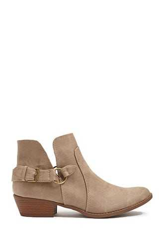 Forever 21 Qupid Faux Leather Buckle Booties  Taupe - GOOFASH