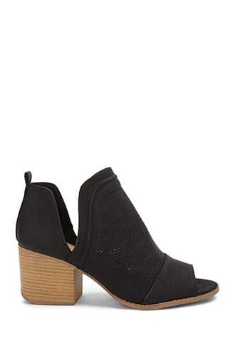 Forever 21 Qupid Faux Leather Perforated Peep-Toe Booties  Black - GOOFASH
