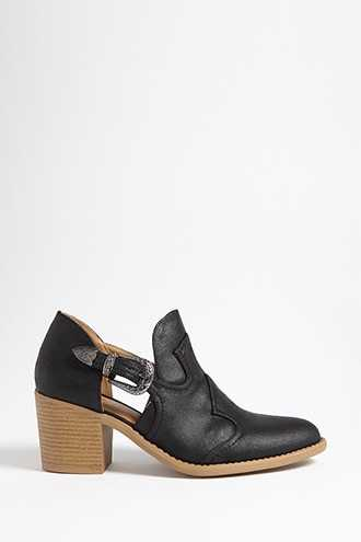 Forever 21 Qupid Faux Leather Side Cutout Boots  Black - GOOFASH