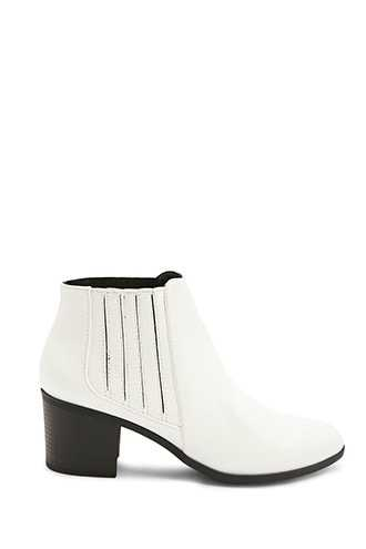 Forever 21 Qupid Faux Suede Ankle Booties  White - GOOFASH