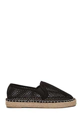 Forever 21 Qupid Faux Suede Cutout Espadrille Flats Black - GOOFASH