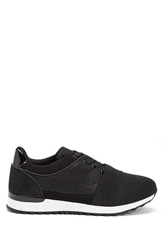 Forever 21 Qupid Glitter Low-Top Sneakers  Black - GOOFASH