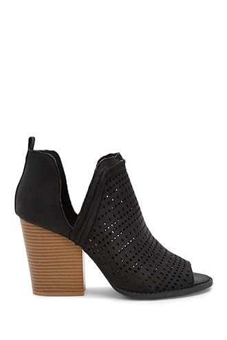 Forever 21 Qupid Perforated Booties  Black - GOOFASH
