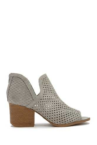 Forever 21 Qupid Perforated Faux Leather Booties  Light Grey - GOOFASH