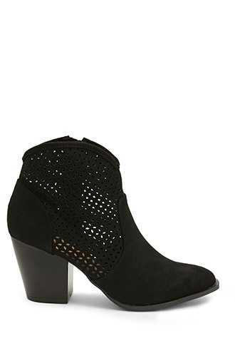 Forever 21 Qupid Perforated Faux Suede Booties  Black - GOOFASH
