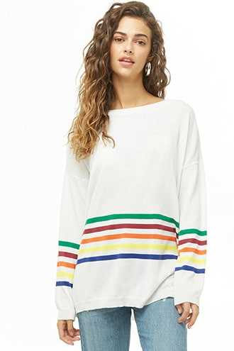 Forever 21 Rainbow-Striped Longline Knit Sweater  White/multi - GOOFASH