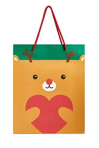 Forever 21 Reindeer Graphic Gift Bag - 2 Pack  Brown/multi - GOOFASH