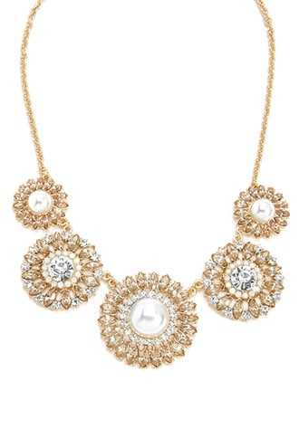 Forever 21 Rhinestone Flower Statement Necklace  Gold/peach - GOOFASH