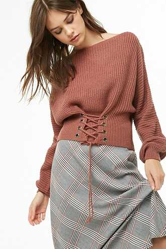 Forever 21 Ribbed Boat Neck Lace-Up Sweater  Rose - GOOFASH