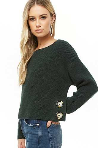 Forever 21 Ribbed Button Sweater  Hunter Green/black - GOOFASH