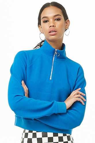 Forever 21 Ribbed Knit Pull Ring Pullover  Blue - GOOFASH