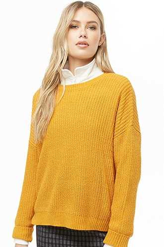 Forever 21 Ribbed Knit Sweater  Marigold - GOOFASH