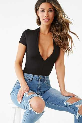 Forever 21 Ribbed Plunging Bodysuit  Black - GOOFASH