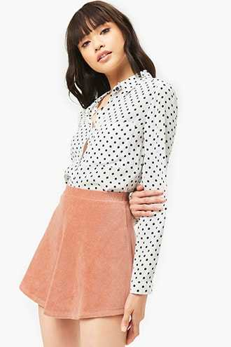 Forever 21 Ribbed Skater Skirt Dusty Pink - GOOFASH