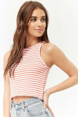 Forever 21 Ribbed Striped Crop Top  Coral/white - GOOFASH