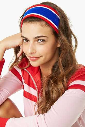 Forever 21 Ribbed Striped Headband  Blue/red - GOOFASH