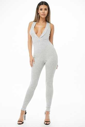 Forever 21 Ribbed Surplice Jumpsuit  Grey - GOOFASH