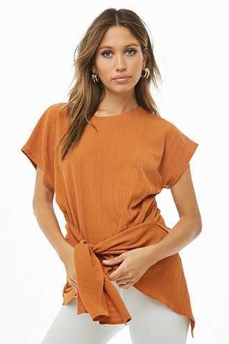 Forever 21 Ribbed Tie-Front Tunic  Rust - GOOFASH