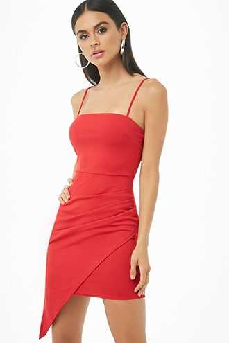 Forever 21 Ruched Asymmetrical Dress  Red - GOOFASH