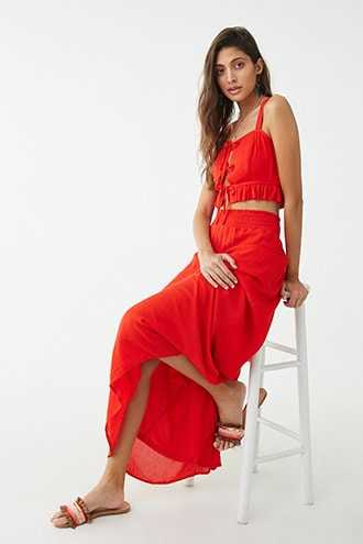Forever 21 Ruffle Cami & Maxi Skirt Set  Red - GOOFASH