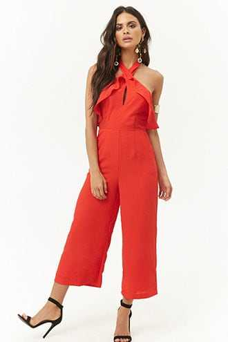 Forever 21 Ruffle Halter Jumpsuit  Red - GOOFASH