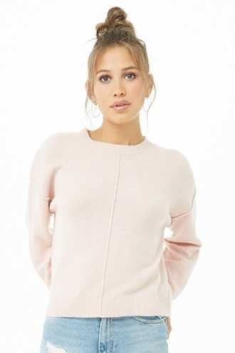 Forever 21 Seamed Knit Sweater  Blush - GOOFASH