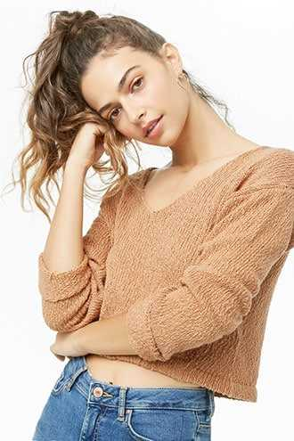 Forever 21 Semi-Cropped Knit Sweater  Camel - GOOFASH