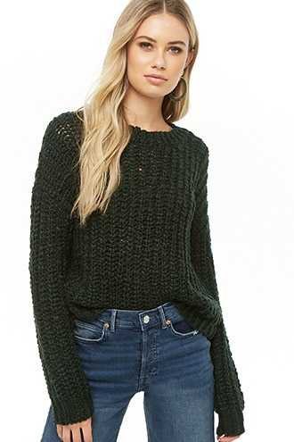 Forever 21 Semi-Sheer Knit Sweater  Green - GOOFASH