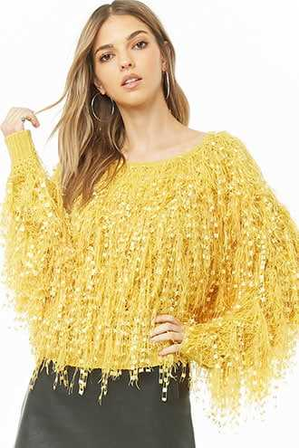 Forever 21 Shaggy Knit Sweater  Mustard - GOOFASH