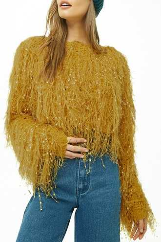 Forever 21 Shaggy Open Knit Sweater  Mustard - GOOFASH