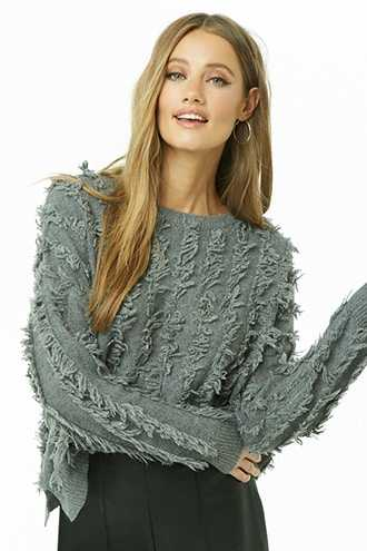 Forever 21 Shaggy Wool-Blend Purl Knit Sweater  Charcoal - GOOFASH