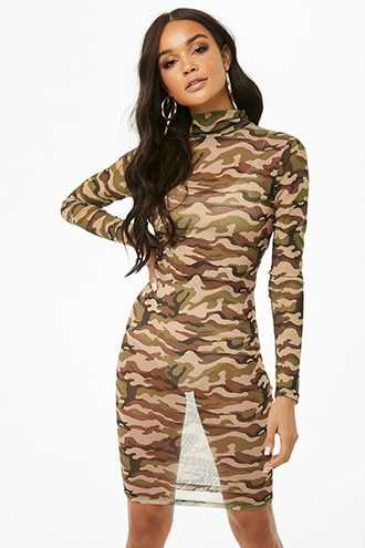 Forever 21 Sheer Camo Mesh Dress  Taupe/black - GOOFASH