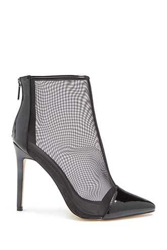 Forever 21 Sheer Mesh Booties  Black - GOOFASH