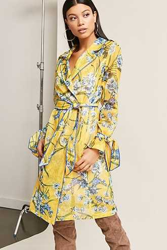 Forever 21 Sheer Mesh Floral Trench Coat  Yellow - GOOFASH
