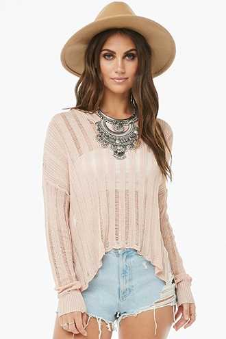 Forever 21 Sheer Open-Knit Sweater  Blush - GOOFASH