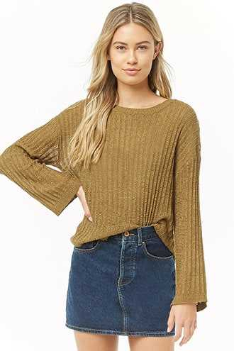 Forever 21 Sheer Ricrac Knit Sweater  Olive - GOOFASH