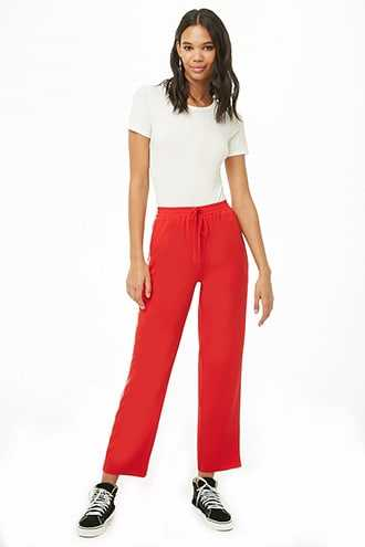 Forever 21 Side-Striped Zippered-Pocket Pants  Red/tan - GOOFASH