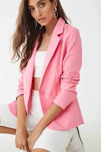 Forever 21 Single-Breasted Woven Blazer  Pink - GOOFASH