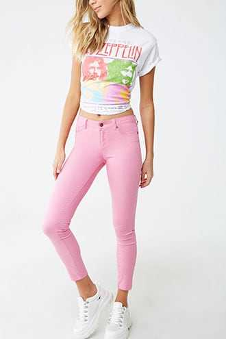 Forever 21 Skinny Ankle Jeans  Bubble Gum - GOOFASH