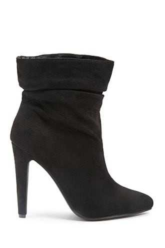 Forever 21 Slouchy Faux Suede Ankle Booties  Black - GOOFASH