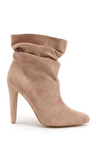 Forever 21 Slouchy Faux Suede Ankle Booties  Blush - GOOFASH