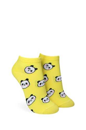 Forever 21 Smiling Panda Bear Ankle Socks Yellow/multi - GOOFASH