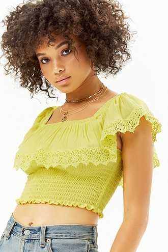 Forever 21 Smocked Flounce Crop Top  Yellow - GOOFASH