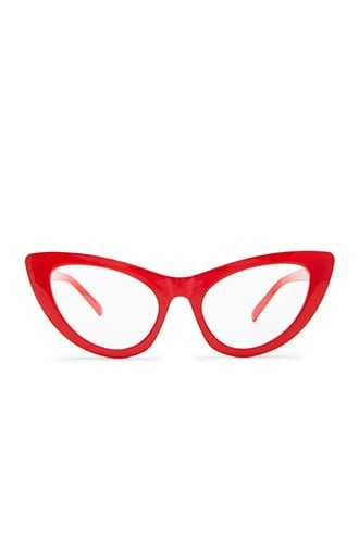 Forever 21 Solid Cat-Eye Readers  Red/clear - GOOFASH