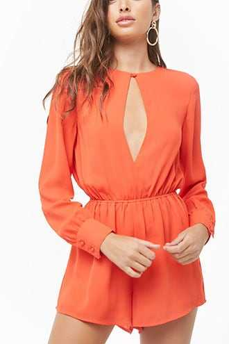Forever 21 Solid Keyhole Romper  Coral - GOOFASH