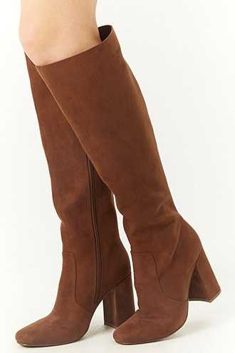 Forever 21 Square Toe Faux Suede Tall Boots  Brown - GOOFASH