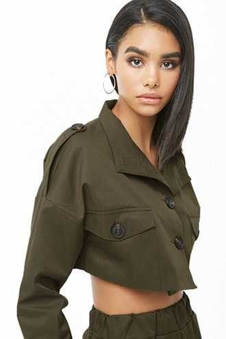 Forever 21 Stand Collar Cropped Jacket  Olive - GOOFASH