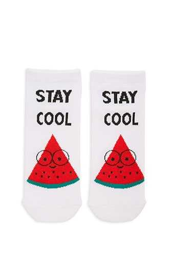 Forever 21 Stay Cool Watermelon Graphic Ankle Socks  White/multi - GOOFASH