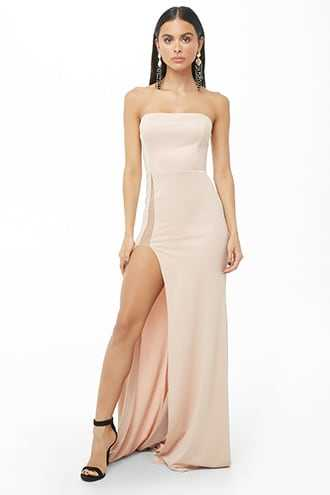 Forever 21 Strapless High-Slit Gown  Nude - GOOFASH