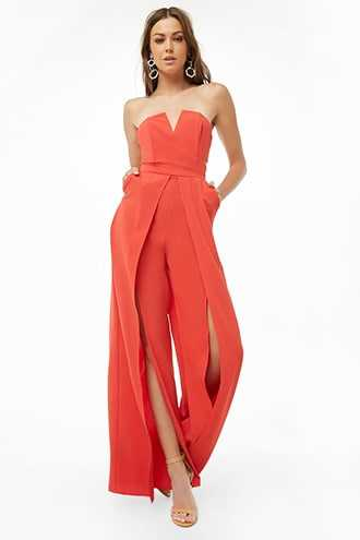 Forever 21 Strapless Wide-Leg Jumpsuit  Red - GOOFASH